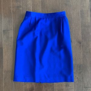 Vintage cobalt blue 100% wool pencil skirt size 4
